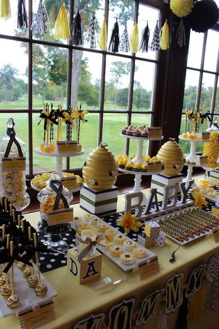 "Sweet Simplicity Bakery: Bumblebee Baby Shower ""Mommy To Bee"" Themed Dessert, Candy & Chocolate Display Buffet Table #prettyperfectliving #baby #shower #child #party #plan #newborn #family #babyshower #prettyperfectbabyshower 