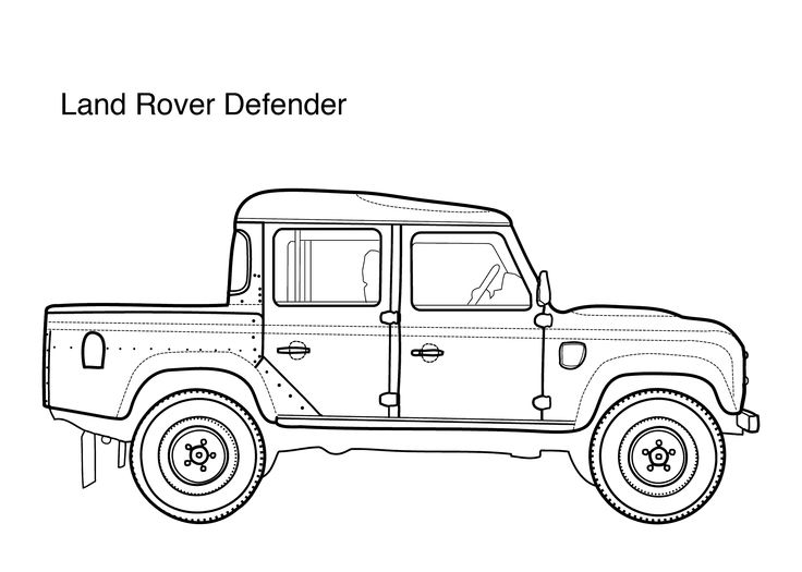 Car coloring pages for kids Land Rover Defender, printable