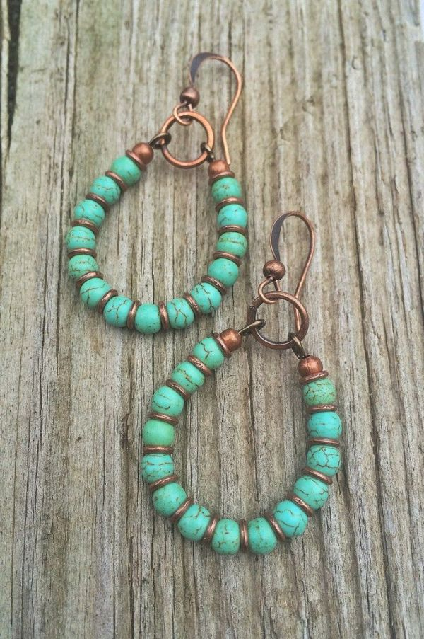 Turquoise Hoop Earrings Copper and Turquoise Handmade