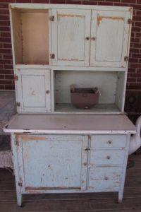 Antique Ivy Green Farmhouse Kitchen Hoosier Cabinet Flour ...