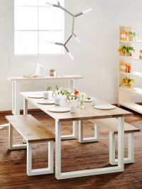 'Slim Jim' dining table and bench seats, American Oak