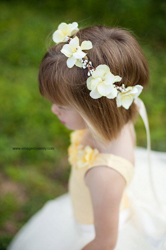 Yellow Flower Girl Hair Wreath Flower Girl Hair
