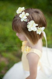 yellow flower girl hair wreath
