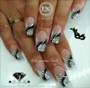 luminous nails black silver &