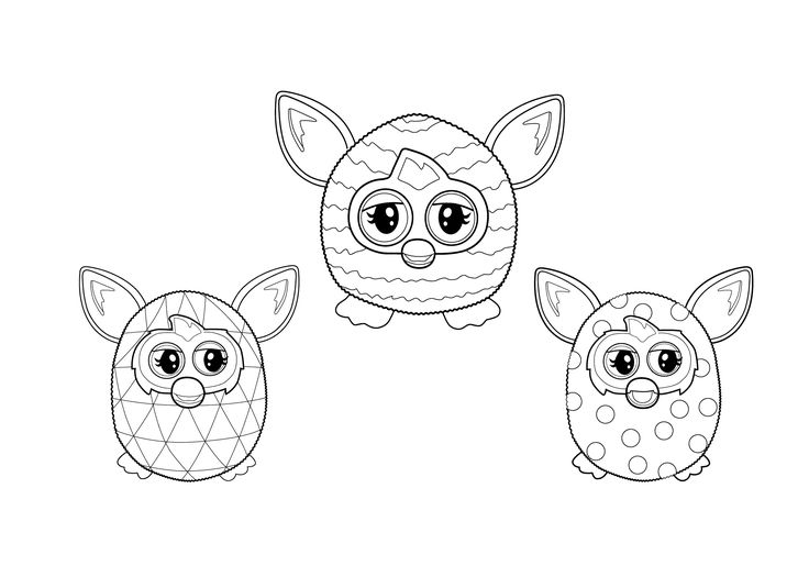 Furby coloring sheet for kids, printable free one, furby