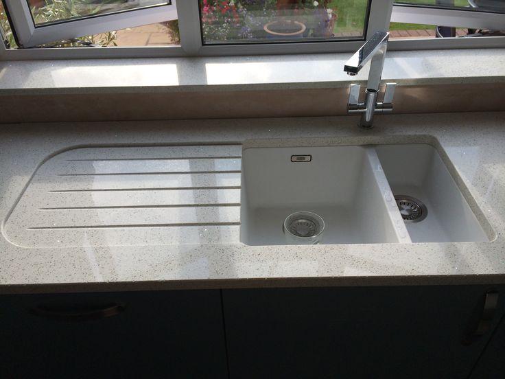 Franke Kubos Sink With Recessed Drainer In Quartz Worktop