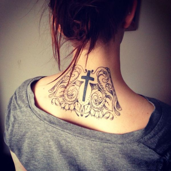 of neck tattoo with cross