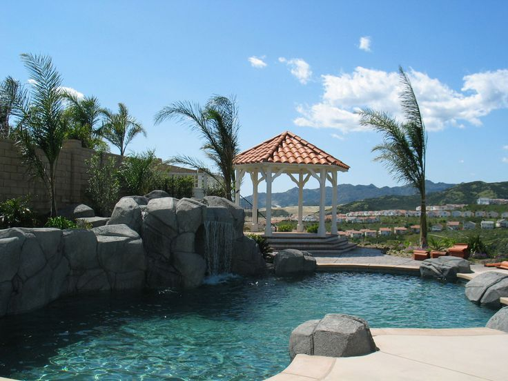 Poolside Gazebo Spanish Tile Roof Covered Patios