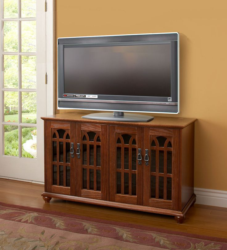 Glass Door Mission Style Flat Panel Amp Plasma TV Cabinet