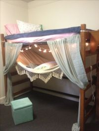 Dorm room: lofted bed and hammock. | College Dorm ...