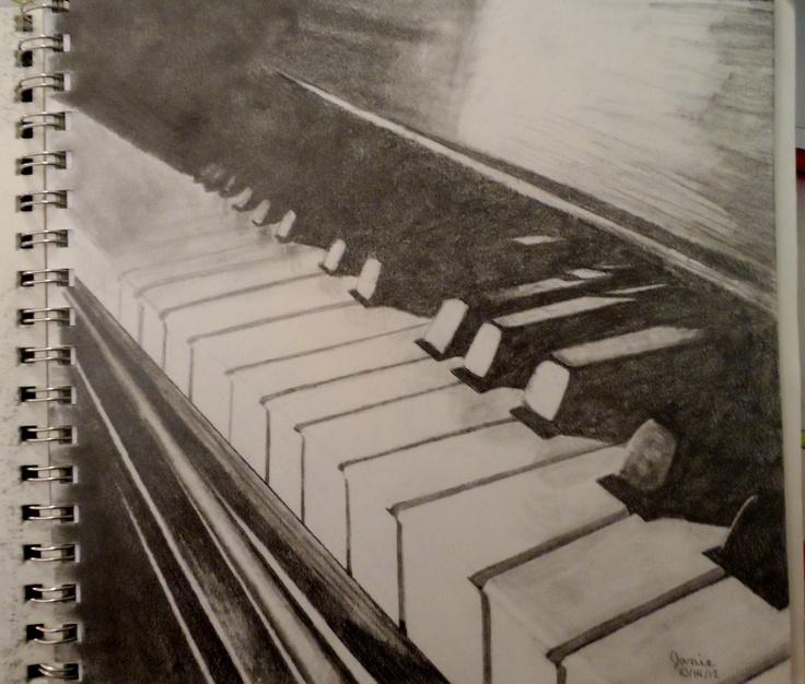 Graphite pencil drawing piano drawing music original
