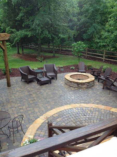 paver patio with fire pit design ideas 29 best images about Fence on Pinterest | Stone columns, Deck with pergola and Patio design