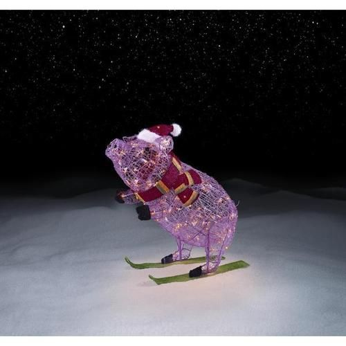 30 LIGHTED PRE LIT PINK CHRISTMAS PIG ON SKIS Outdoor