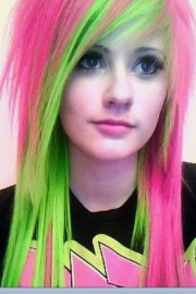 pink and green emo girl. hair