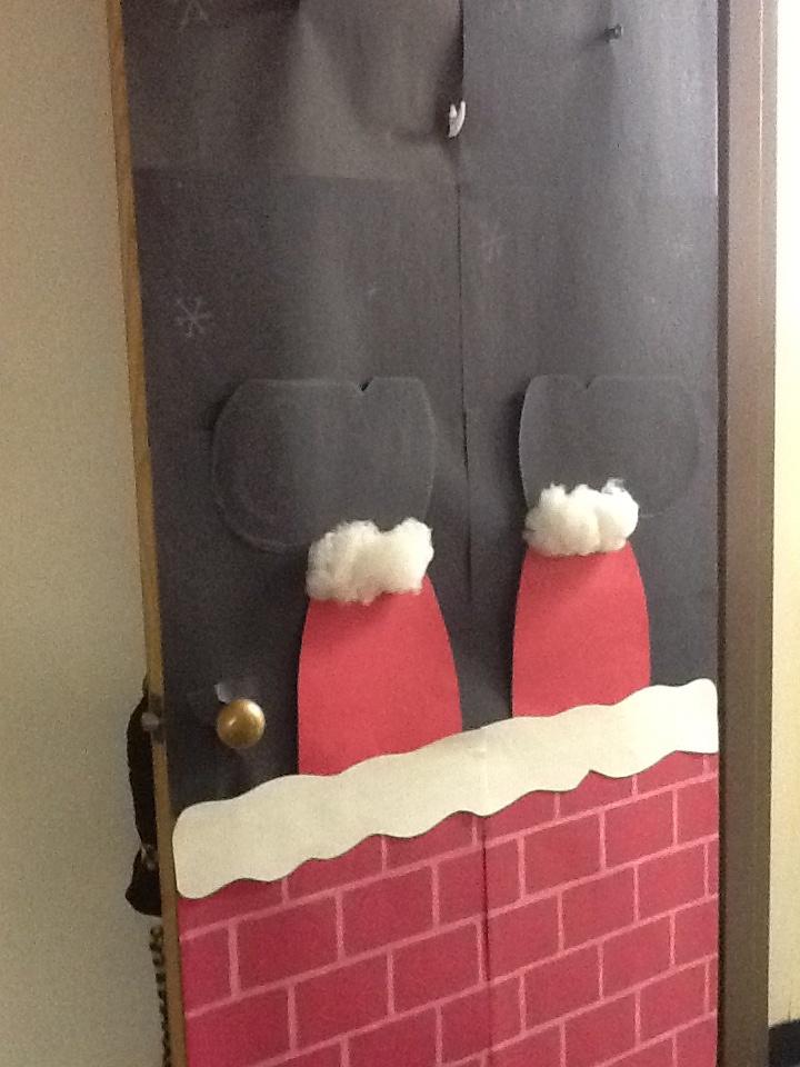 Santa stuck in the chimney door