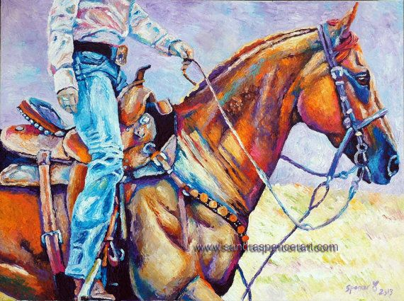 Original Cowgirl Oil Painting 18x24 western horse art