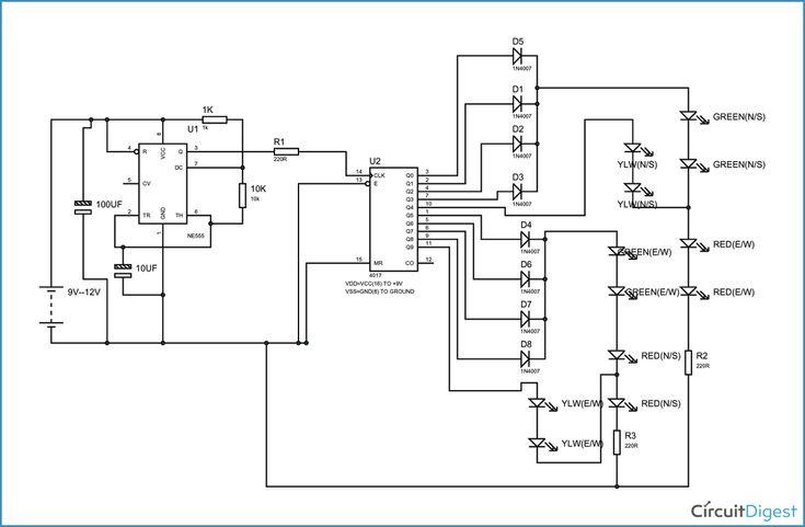 circuit diagram for traffic lights