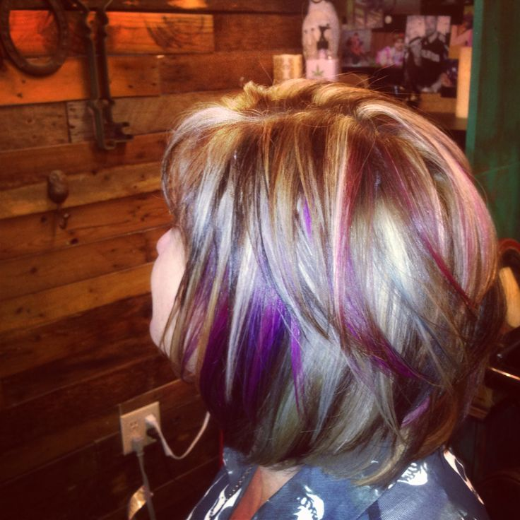 Dark Hair With Bright Blonde And Purple Highlights