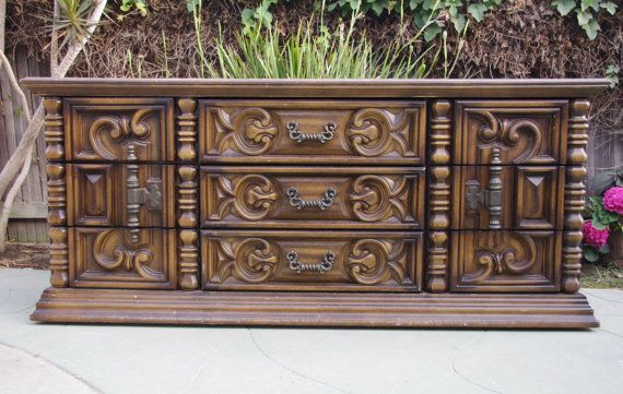 70s Mediterranean Rococo Style Dresser  Chest by VintageRescues 145000  Vintage Rescues