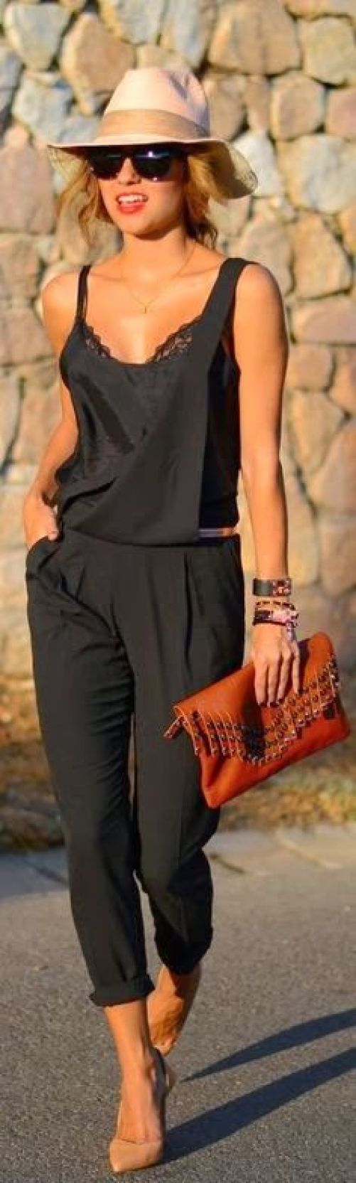 { Cute black jumpsuit } summer outfits womens fashion clothes style apparel clothing closet ideas  hat brown purse pants top: