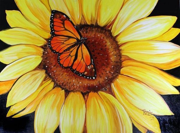 sunflower and butterfly clip art
