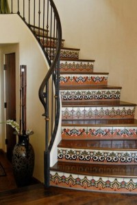 Mexican tile stairs iron rod instead of wood to loft ...