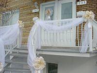 Gold & white wedding door bow & railing tulle drapes 2 ...