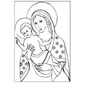 Bible coloring pages, Madonna With Pointing Child