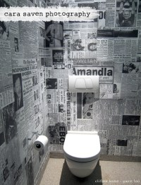 Funky! Toilet wallpaper made out of old newspaper