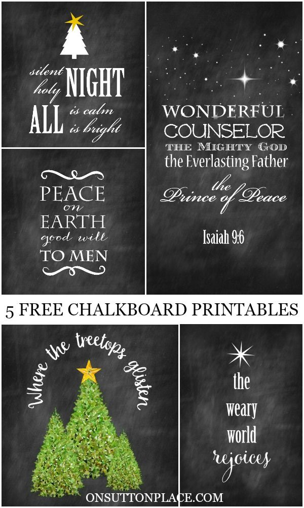 5 Christmas Chalkboard Printables Wall Art Crafts Card
