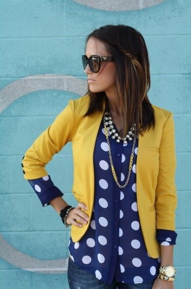 Polka dots –   Mustard and Navy – what a fab combination