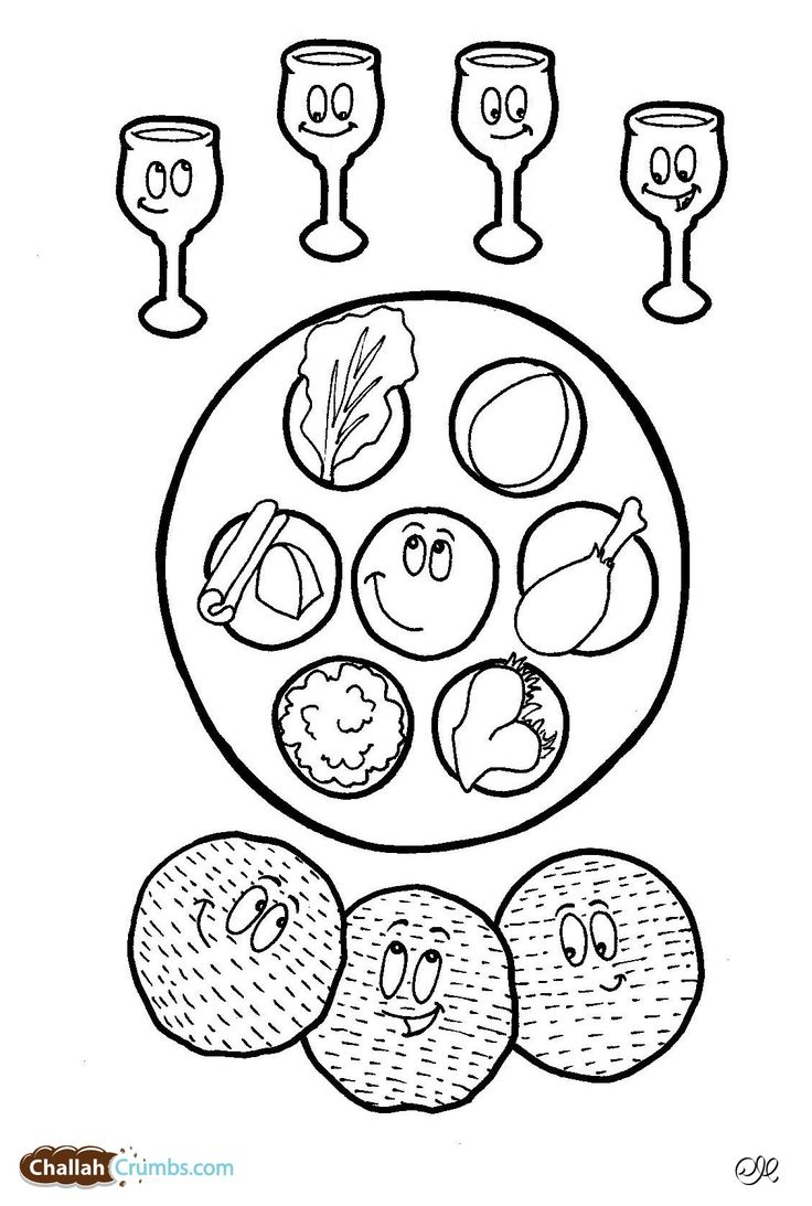 This coloring page has it all: four cups of wine, three