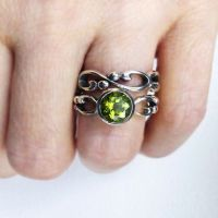 Peridot engagement ring set, august birthstone ring ...