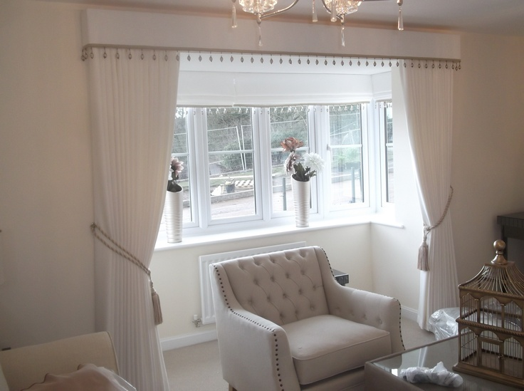 Curtains with Pelmet with a Beaded Trim  Window
