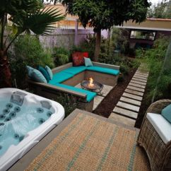 Designing A Small Living Room With Fireplace Green Rug Hot Tub Deck, Fire Pit And Lush Patio | Home Pinterest ...