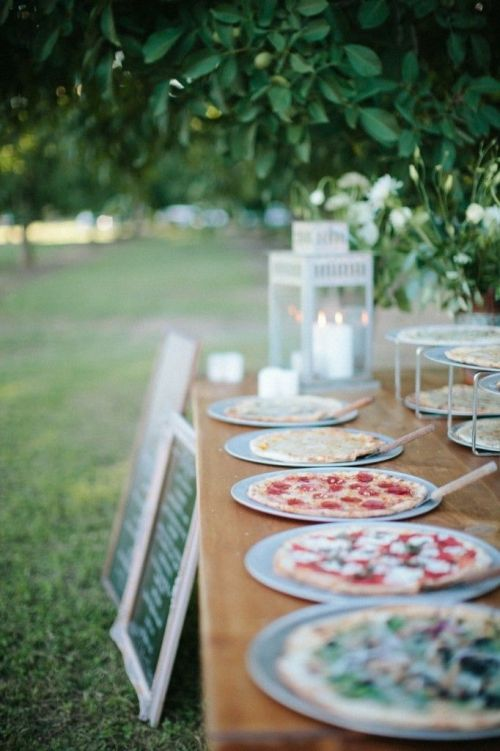 An artisan pizza buffet -- who wouldn't love this idea?! | http://www.weddingpartyapp.com/blog/2014/10/15/the-perfect-wedding-dining-style/