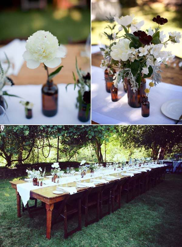 classic outdoor wedding  fruitwood garden chairs  farm