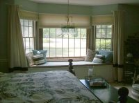 Remarkable Brown Bedroom Bay Window Design Idea with Cream ...