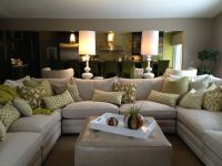 Family Room Sectional, White sofa, White accessories