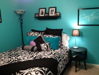 Tiffany blue, black and purple bedroom