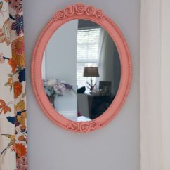 How To Make Living Room Curtains Modern With Persian Carpet Diy Spray-painted Peach Oval Mirror (color Is
