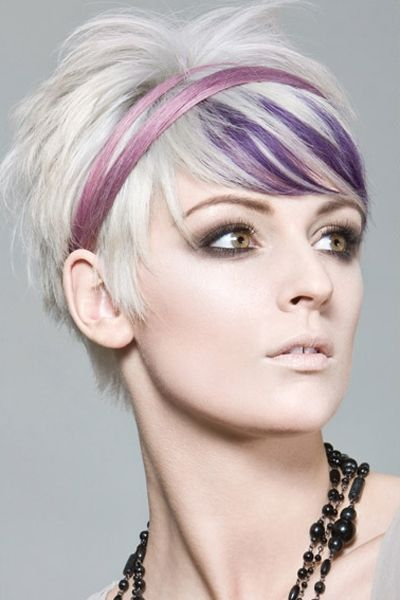 This blonde looks fantastic with this cute and funky, short hairstyle. The hair