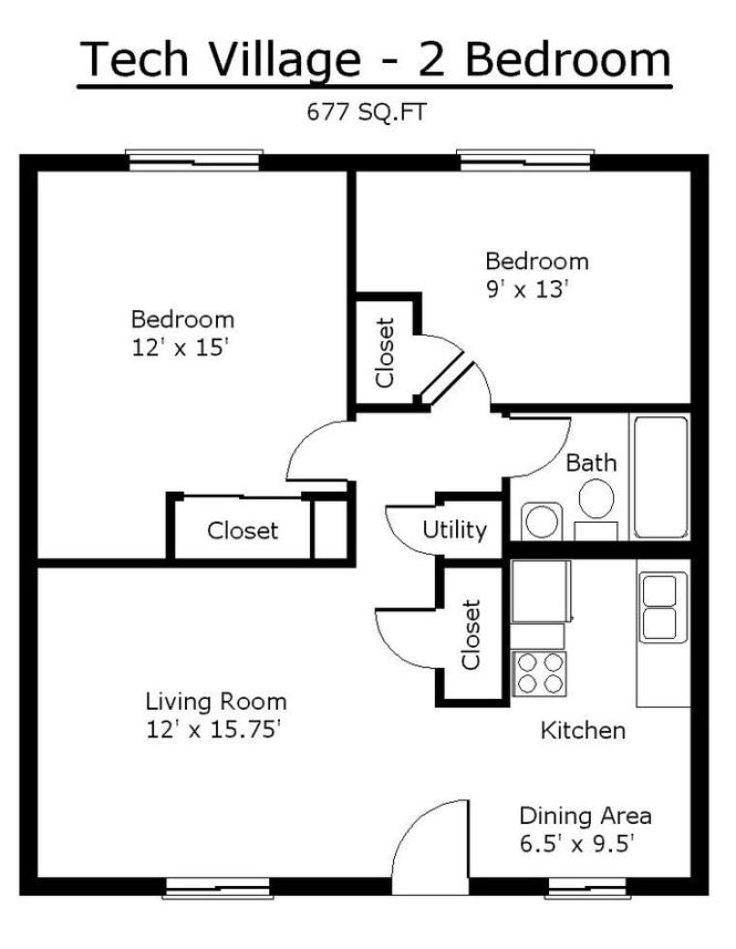 Tiny House Single Floor Plans 2 Bedrooms Apartment Tennessee Tech University