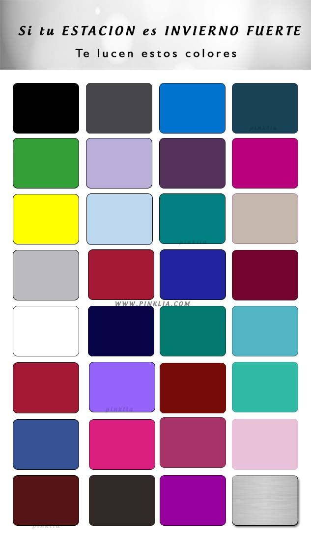 Tabla de colores para mujeres de estacin invierno fuerte
