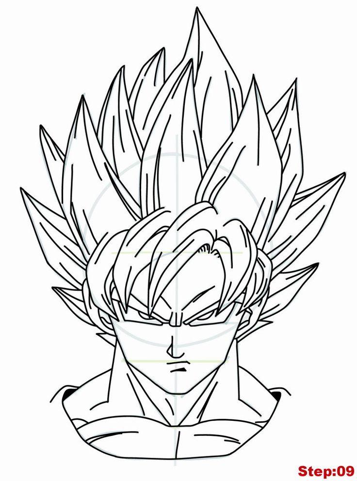 Drawing Goku Super Saiyan from Dragonball Z Tutorial Step