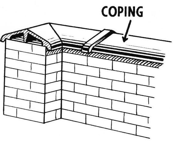 COPING : A protective cap of brick, stone, or concrete