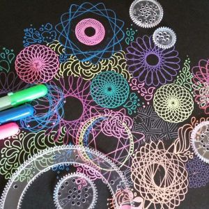 spirograph drawings paper neon gelly roll pens dark bright crafts instagram easy cool designs moonlight painting doodle doodles colors markers