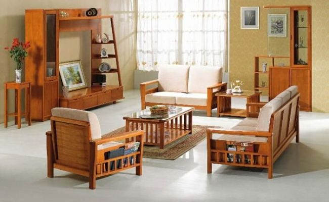 Modern Wooden Sofa Furniture Sets Designs For Small Living