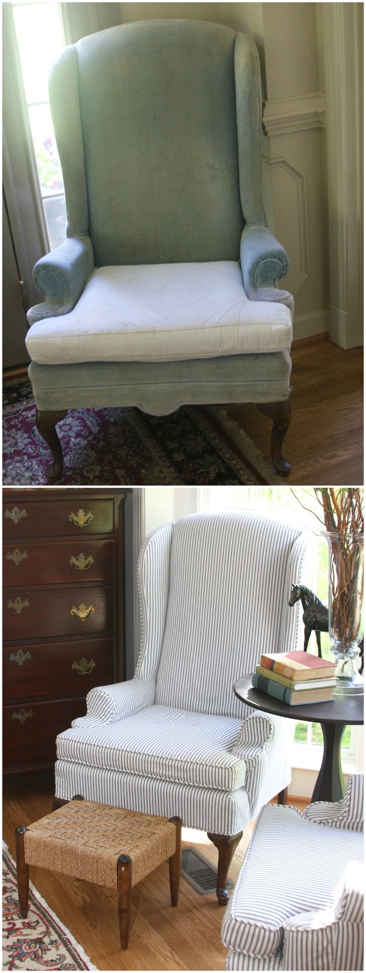 blue wingback chair covers cover depot code updated vintage ethan allen chairs with lovely ticking stripe fabric custom ...