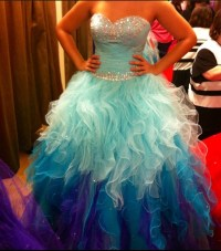 Must have ! ~ Cute poofy fringe colorful prom party dress